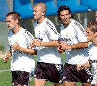 todo mundo animado no treino do Real Madrid