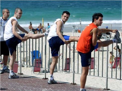 treinando com a seleção no Rio